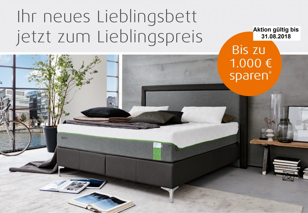 tempur sommer aktion ihr lieblingsbett zum lieblingspreis r ckenzentrum schlafen stamsried. Black Bedroom Furniture Sets. Home Design Ideas